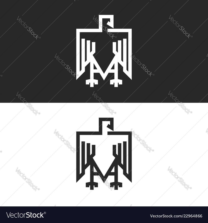 Sitting eagle logo heraldic symbol in the