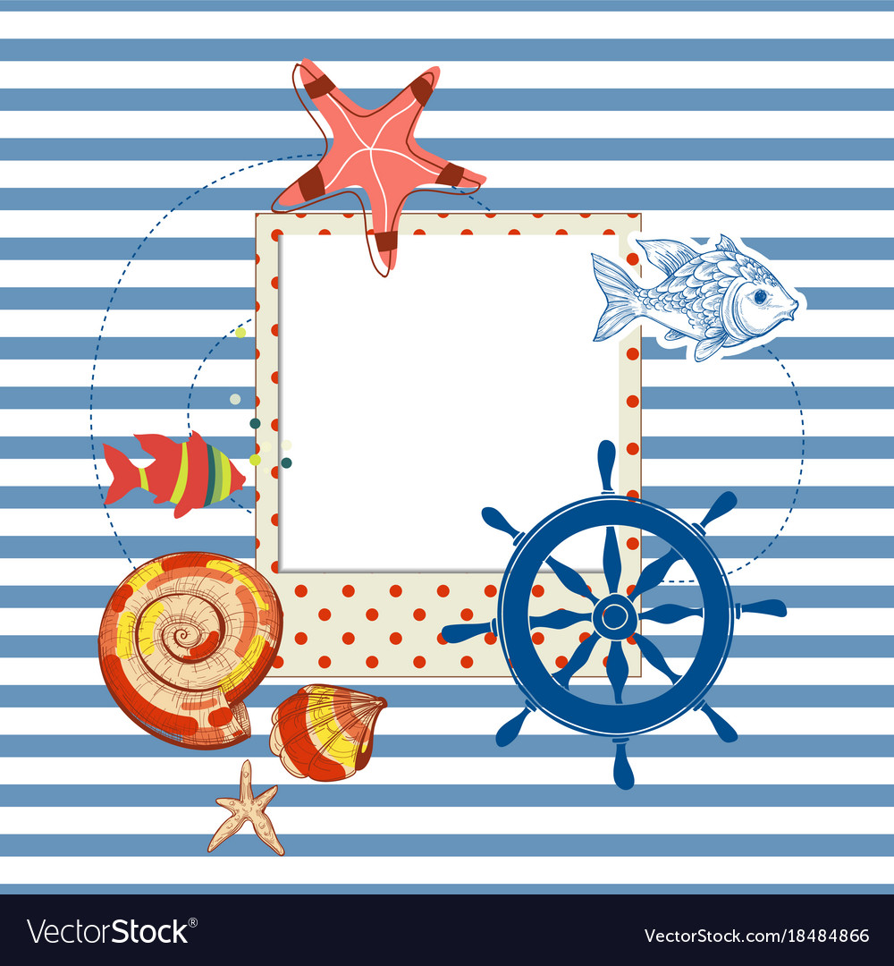 Summer navy background photo frame