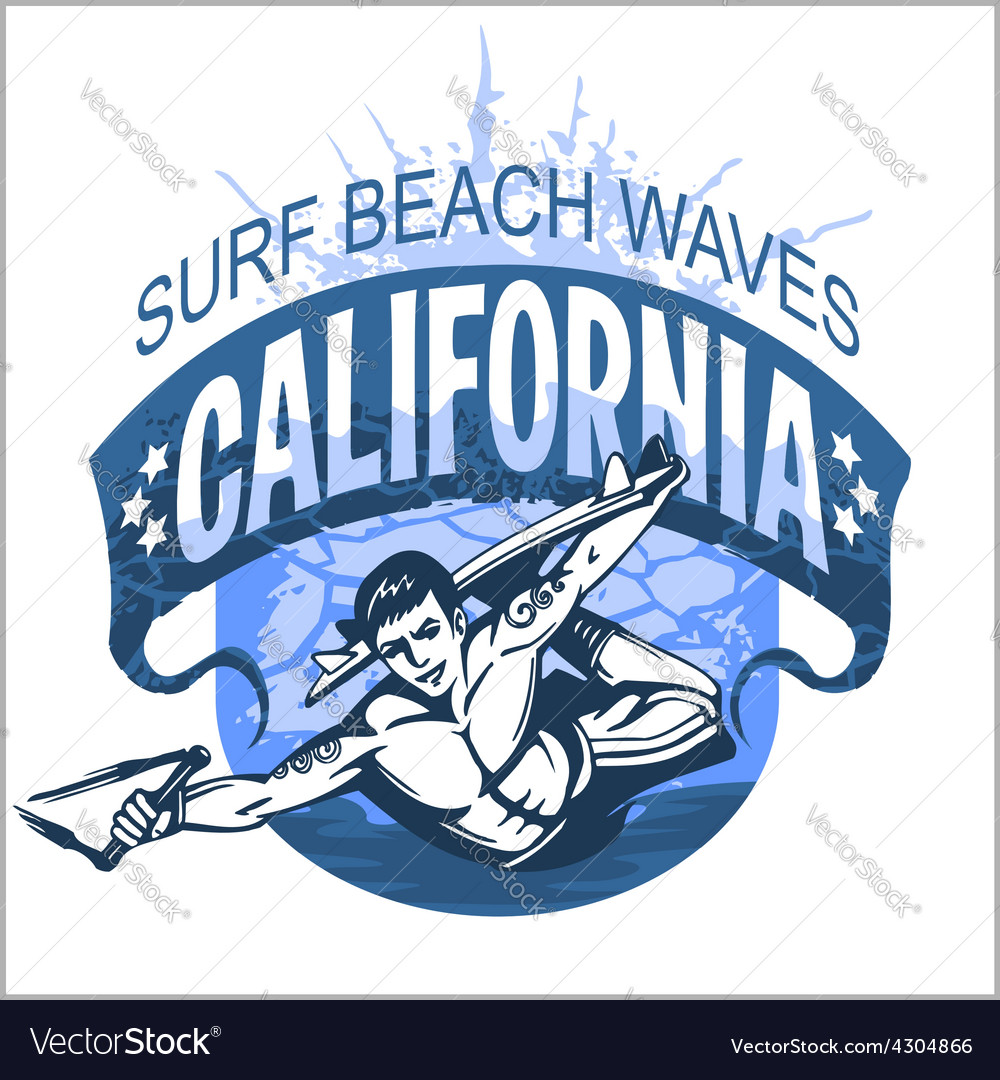 Surfing - label and elements vector image