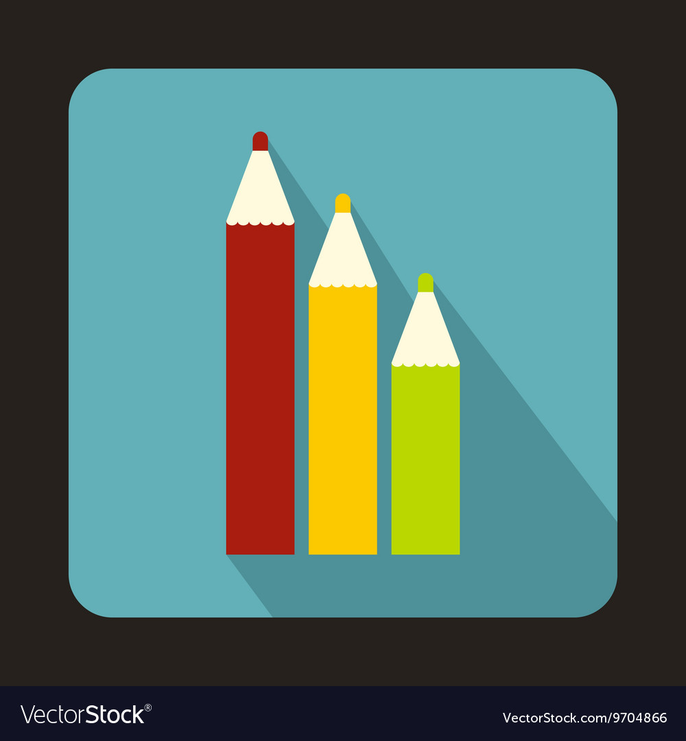 Three colored pencils icon in flat style