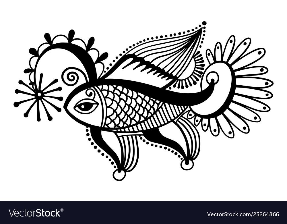 Tribal fish drawing indian mehndi decor