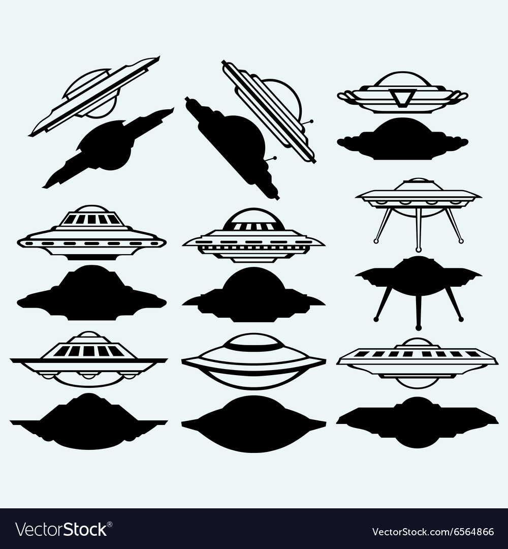 UFO flying saucer set icon vector image