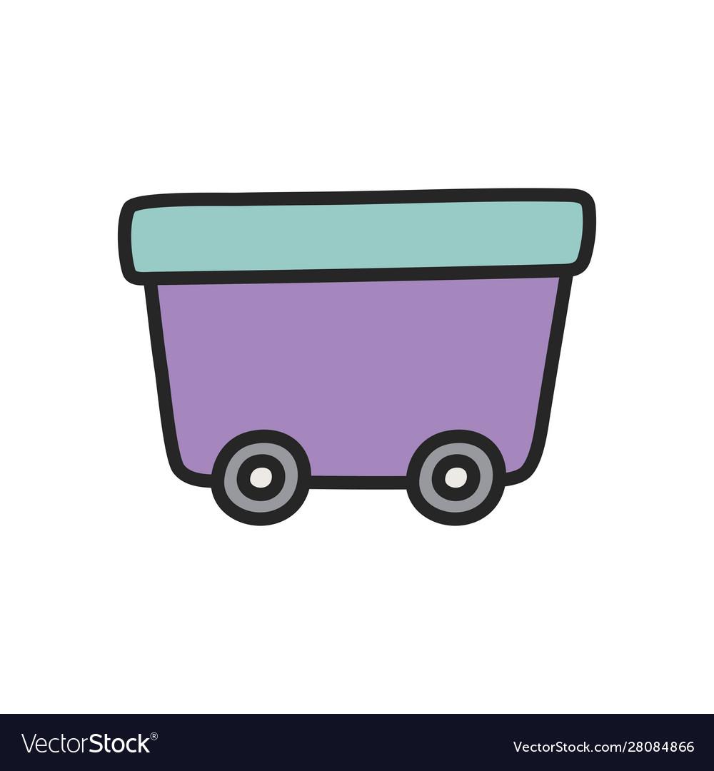 Wagon on wheels toy plastic icon