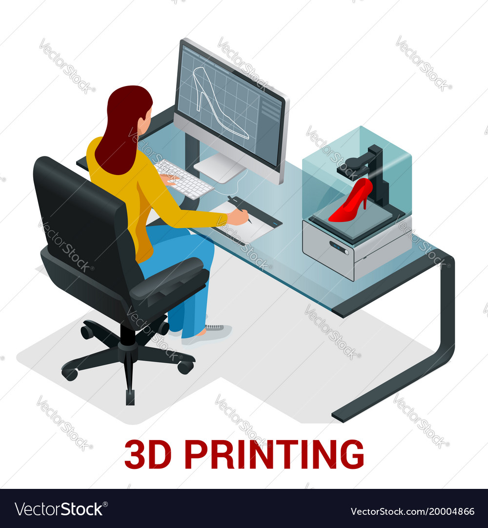 Young woman or school girl print 3d model on 3d