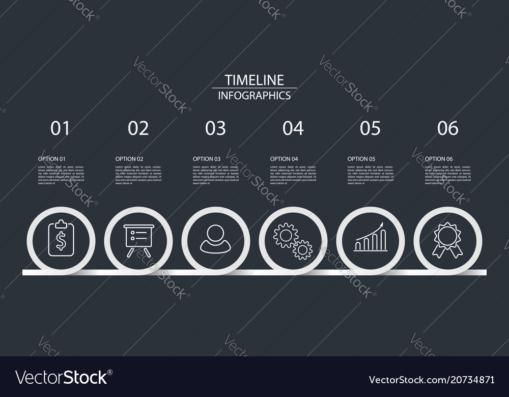 6 steps timeline infographics circle style