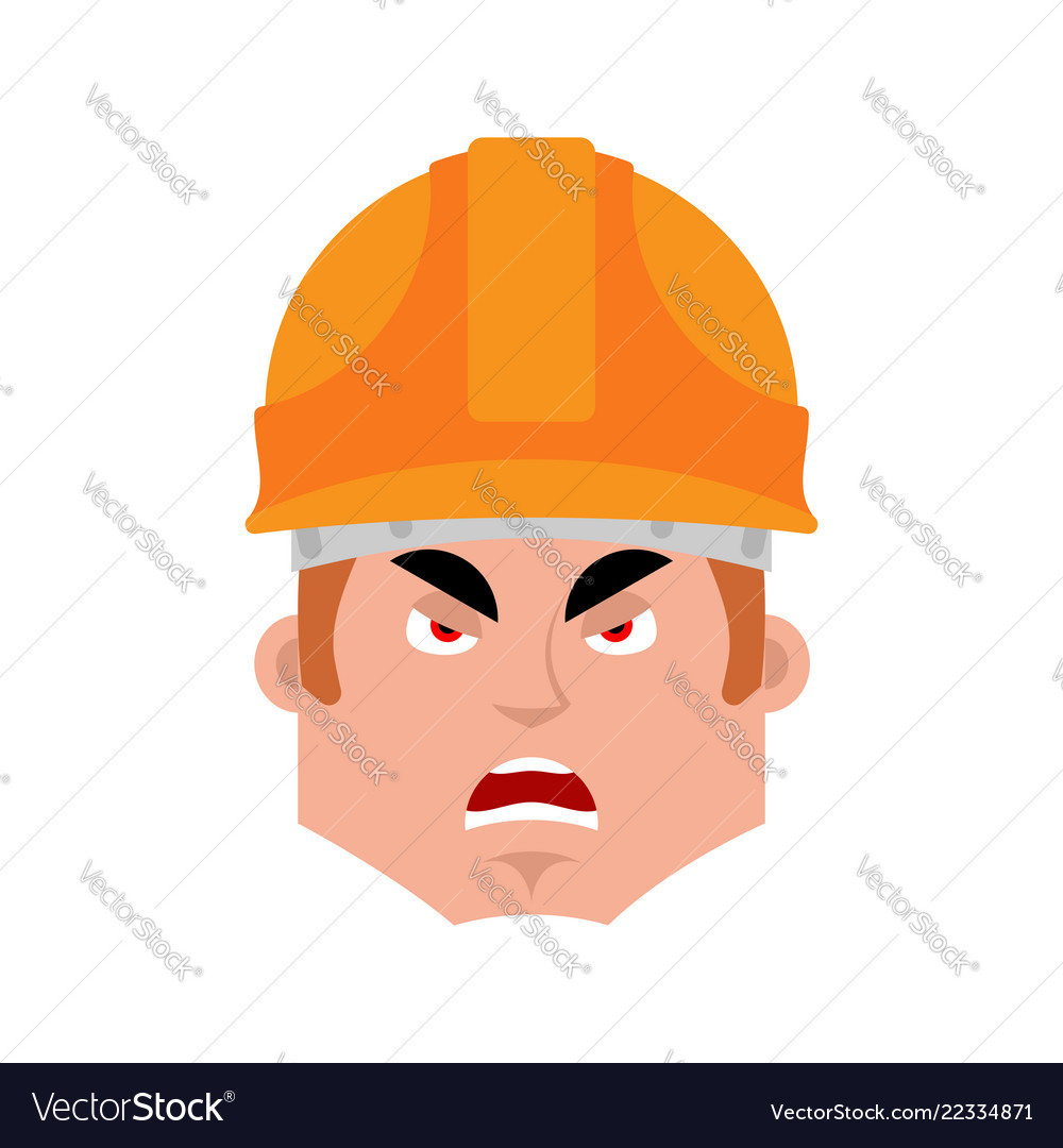 Builder angry emotion avatar worker in protective