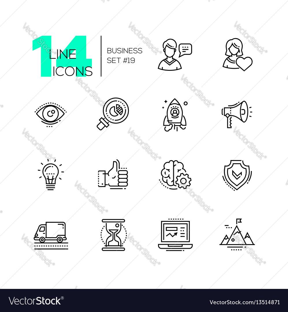 Business - modern single line icons set