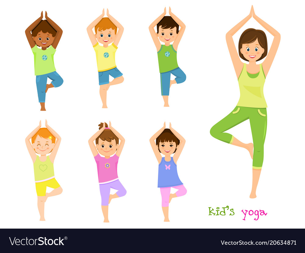 Children do yoga with a yoga instructor