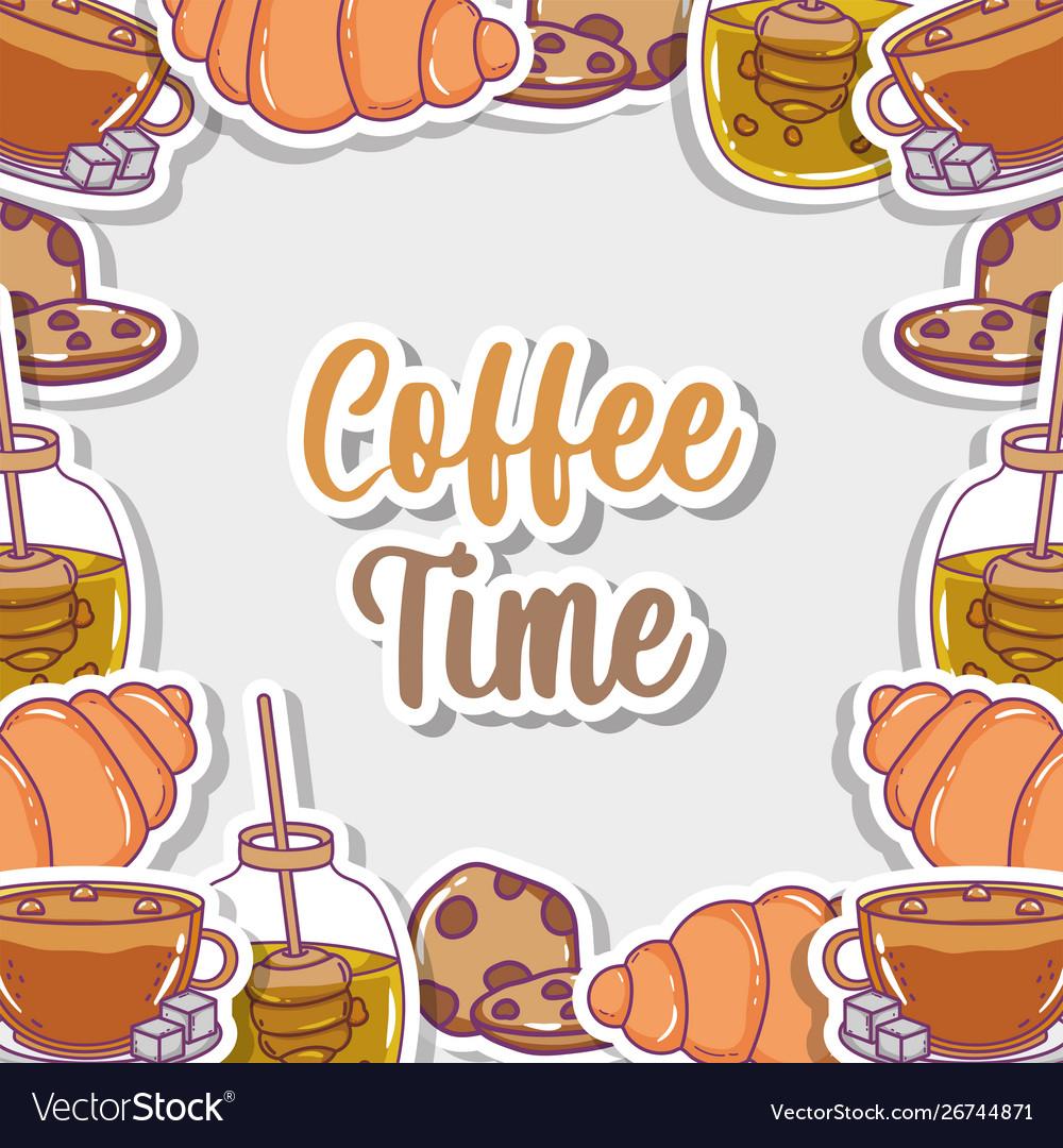 Coffee time sketch flat design
