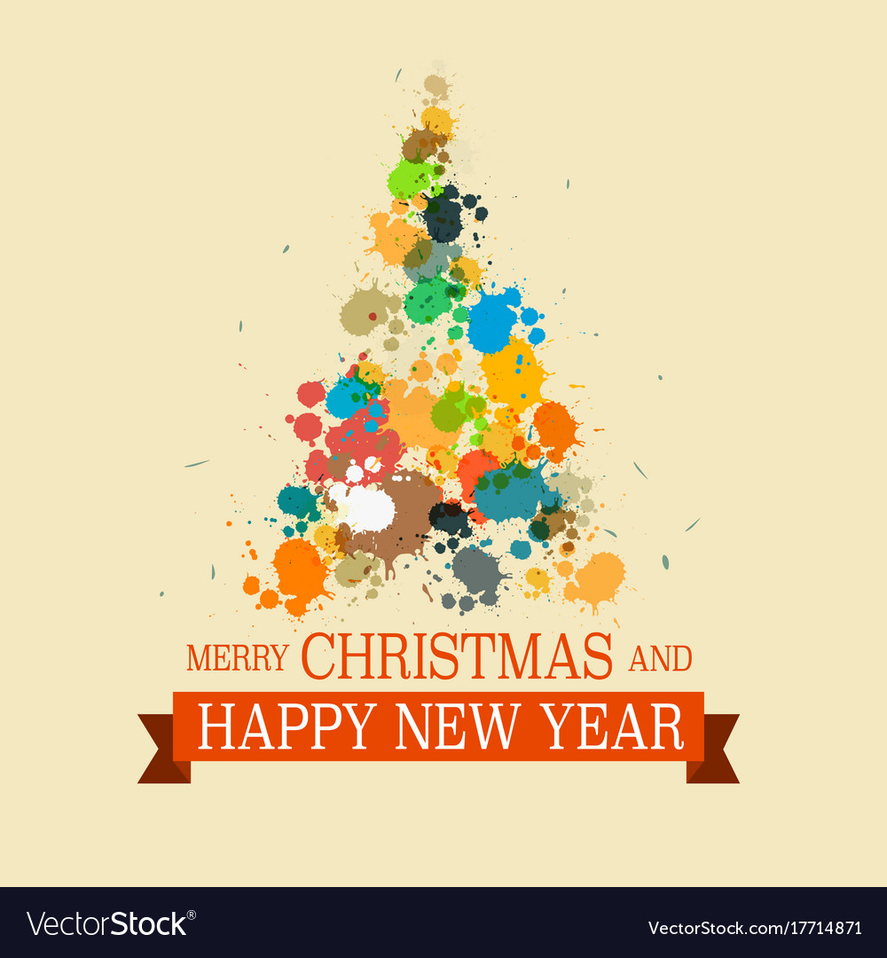 Colorful christmas tree grunge xmas card Vector Image