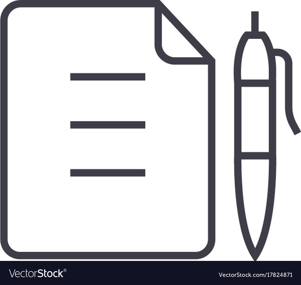 Contractdocument file with pen line icon