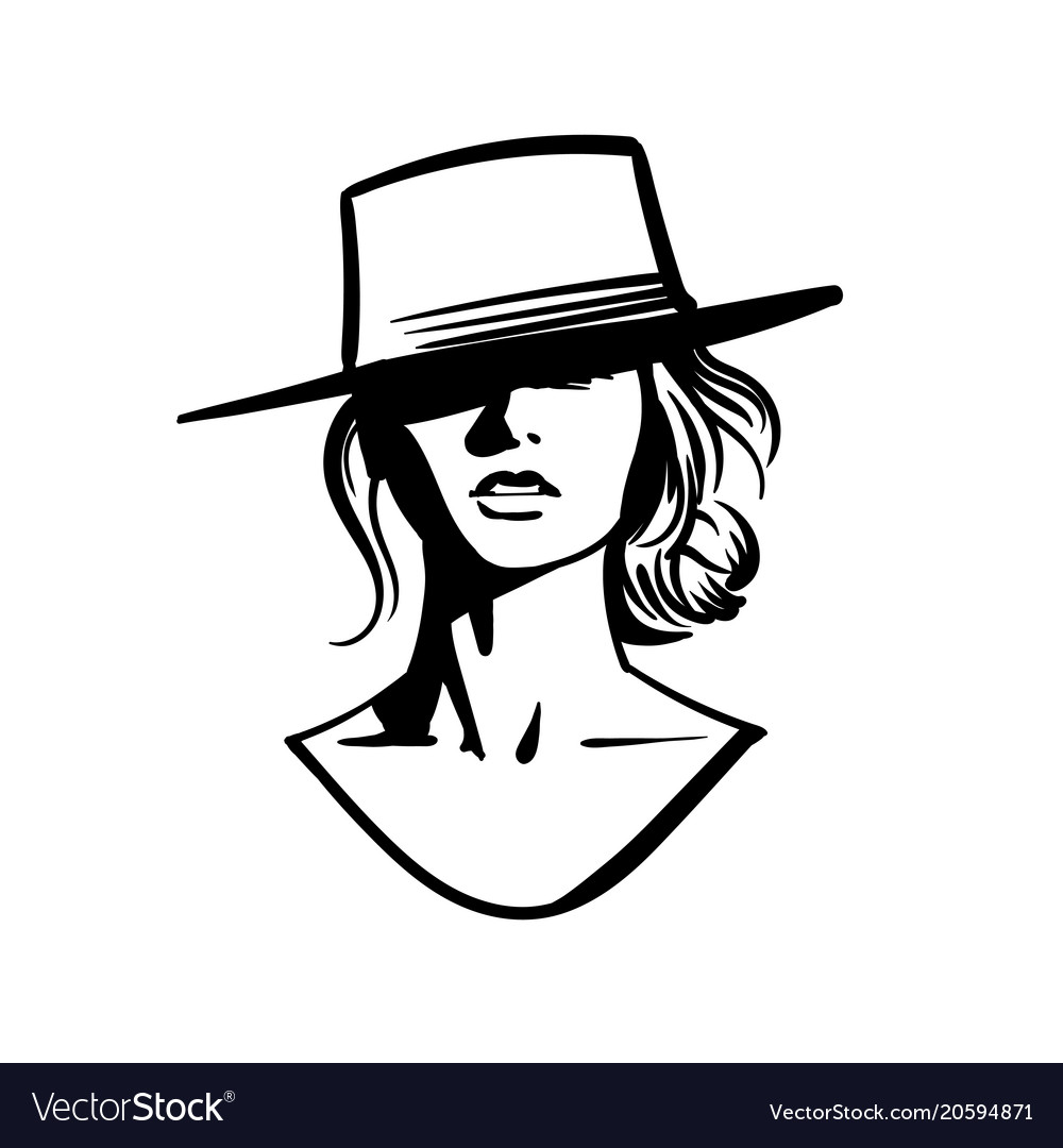 42cd0cbb38b6c Cowboy girl face with hat black and white Vector Image
