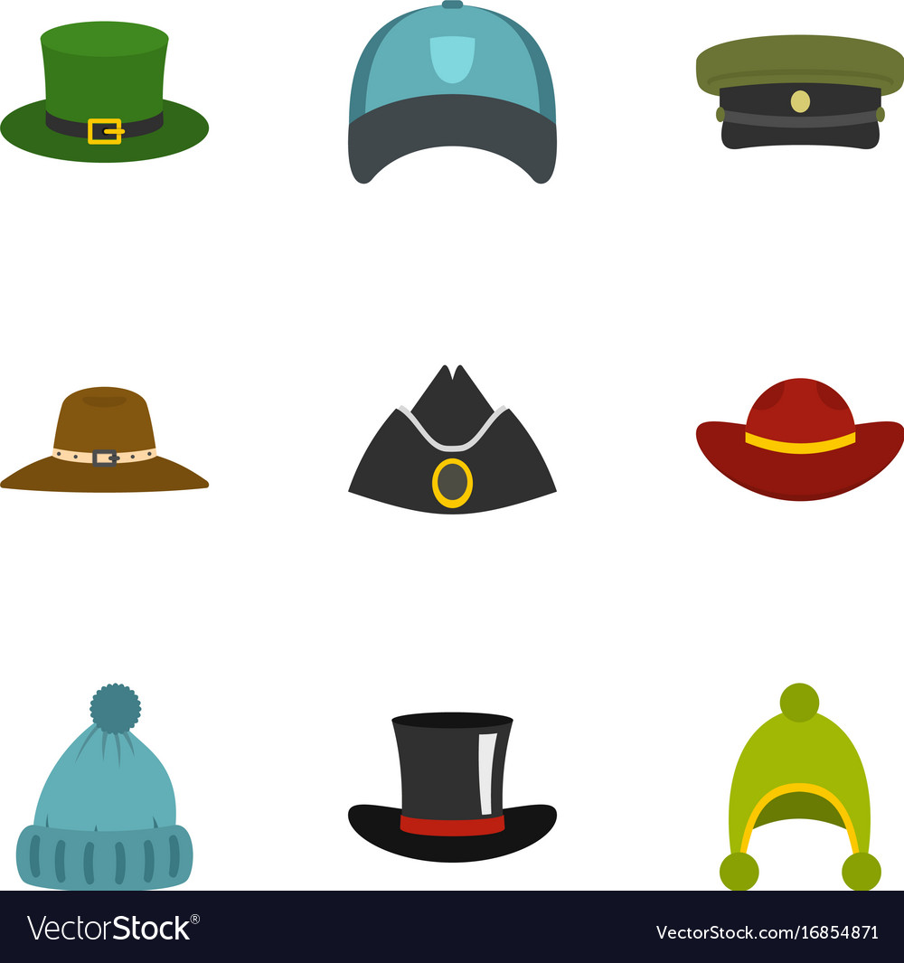 Hat wear icon set flat style Royalty Free Vector Image a280419c3e2f