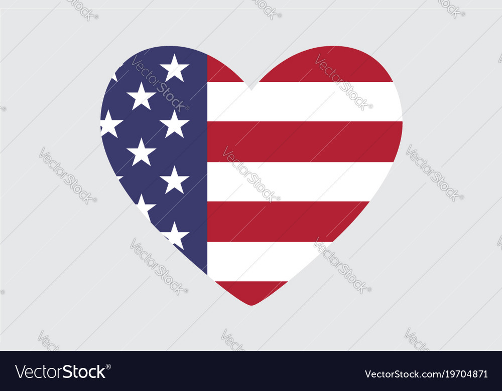 Heart Of The Usa Flag Colors And Symbols Vector Image
