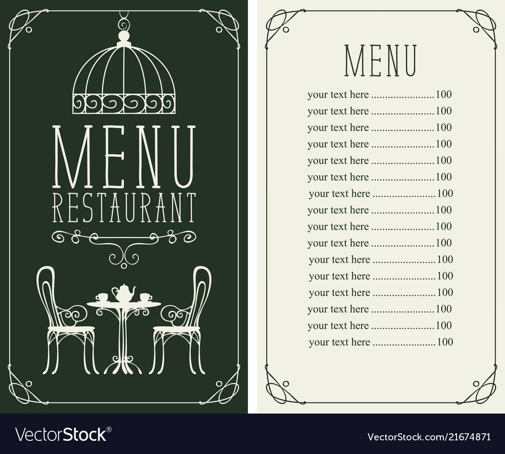 Menu with price image served table and chairs