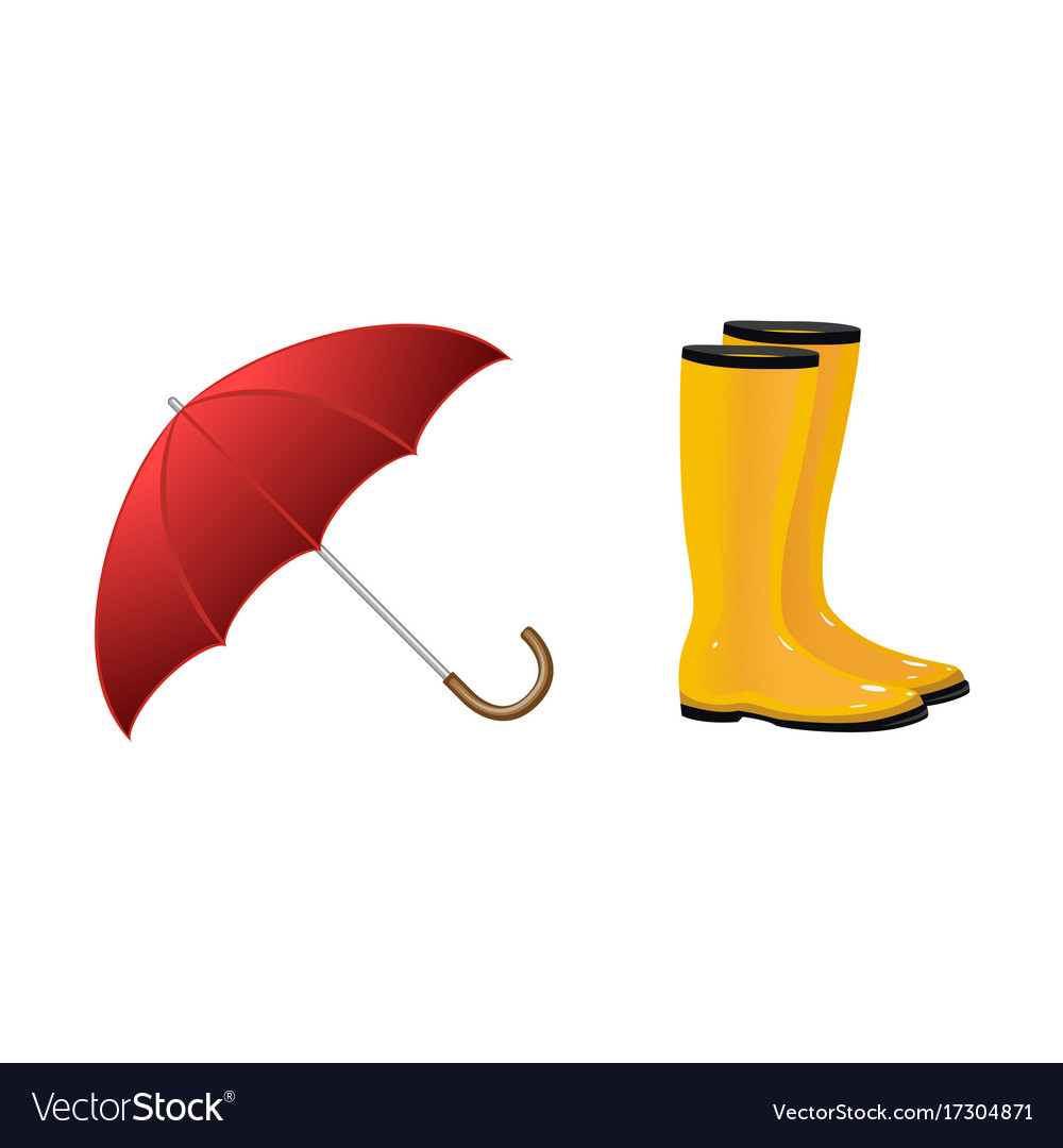 Pair of rain boots wellingtons and open umbrella