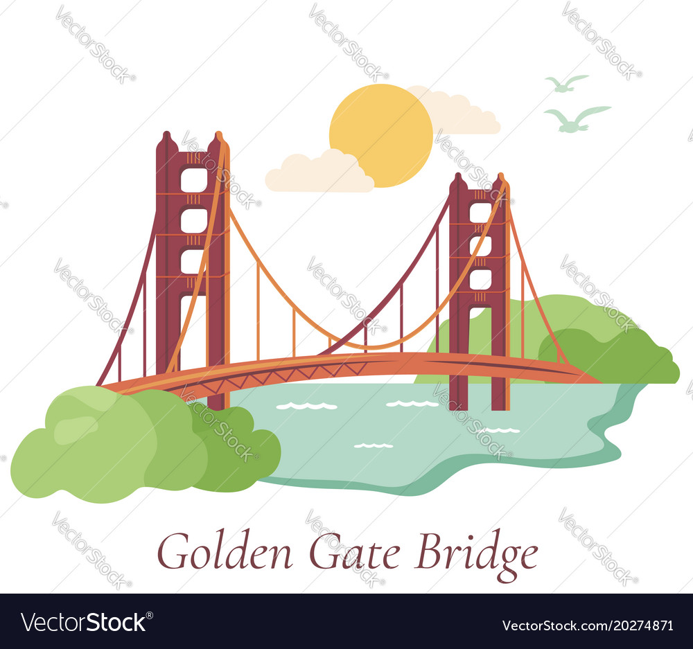 San Francisco Poster With Golden Gate Bridge Vector Image Diagram Of The