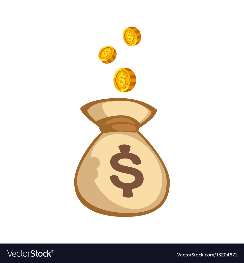Stacks Of Gold Money Coins Bag Income Profits Cash Vector Image