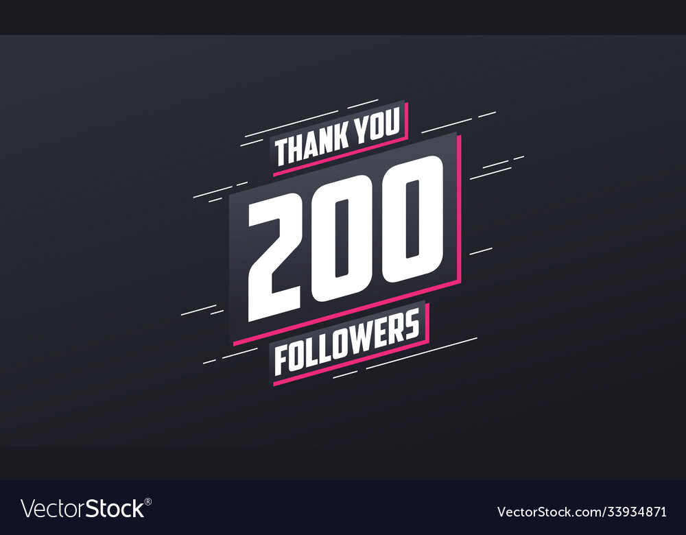 Thank you 200 followers greeting card template