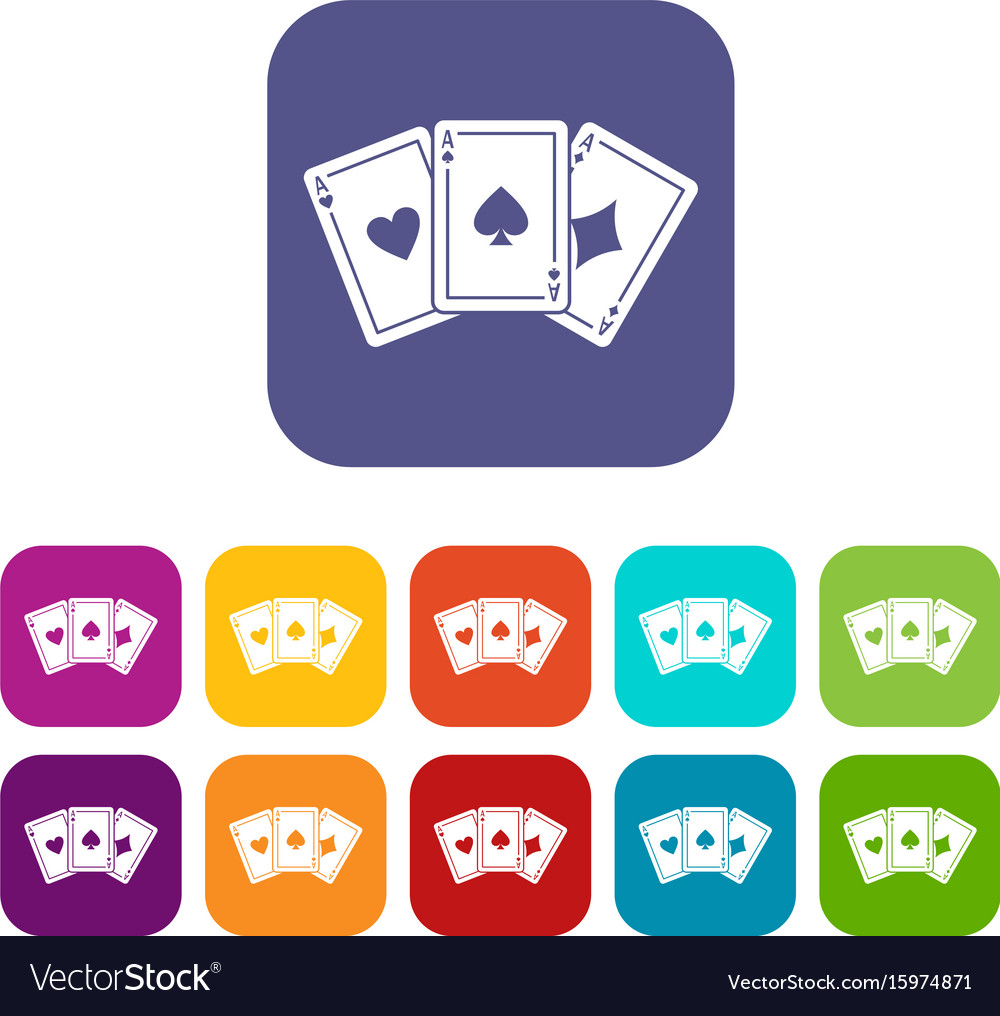 Three aces playing cards icons set
