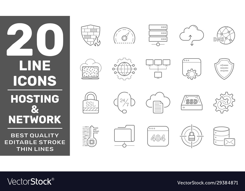 Web hosting and network icons set technology