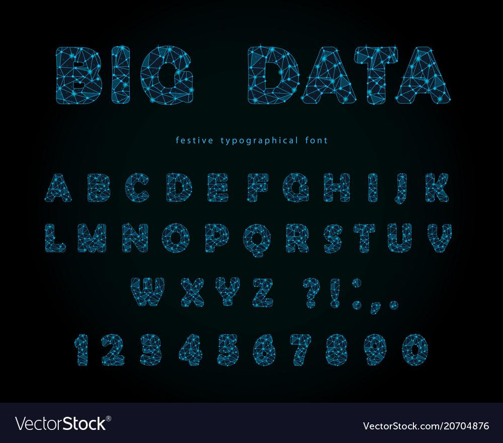 Big data modern font on black background