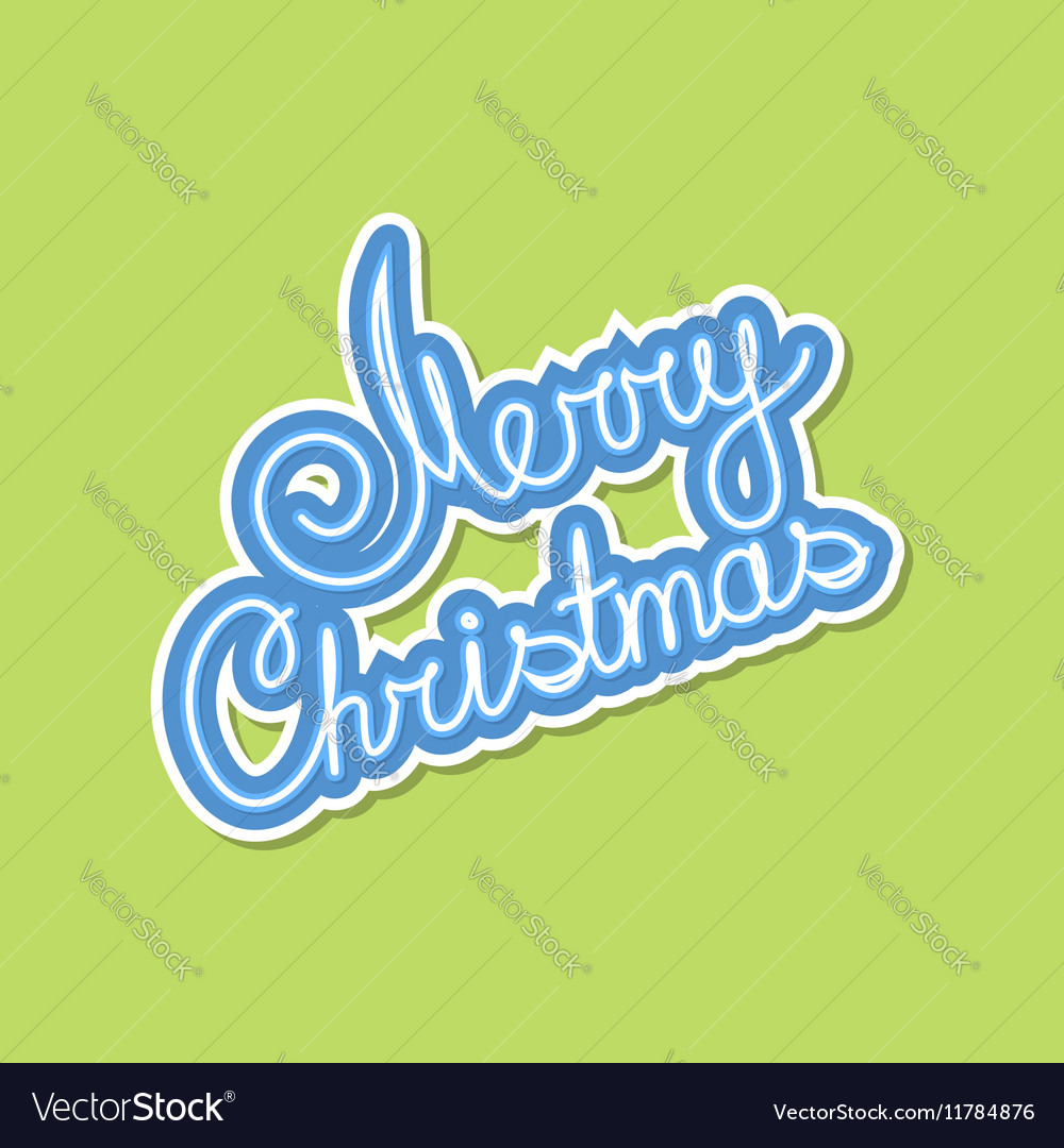 Blue Text Merry Christmas on Green Background