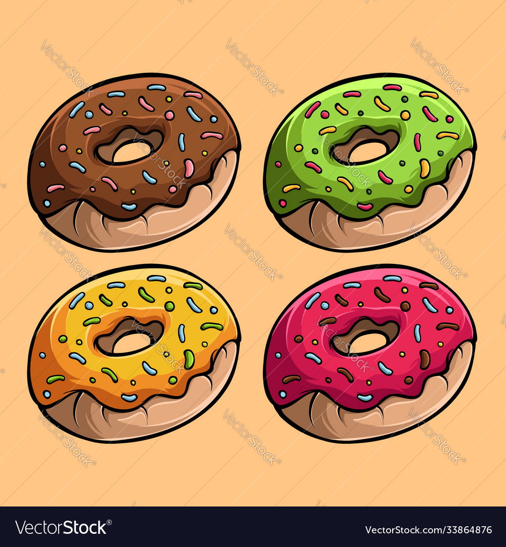 Four yummy donuts with different tastes