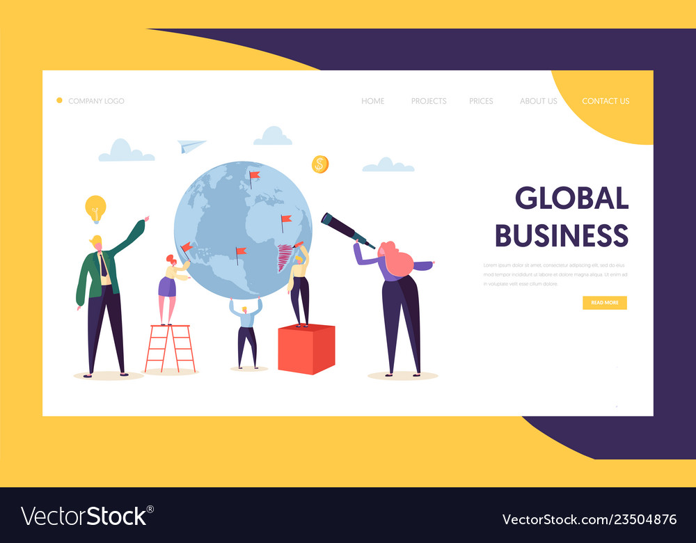 Global business opportunity character landing page