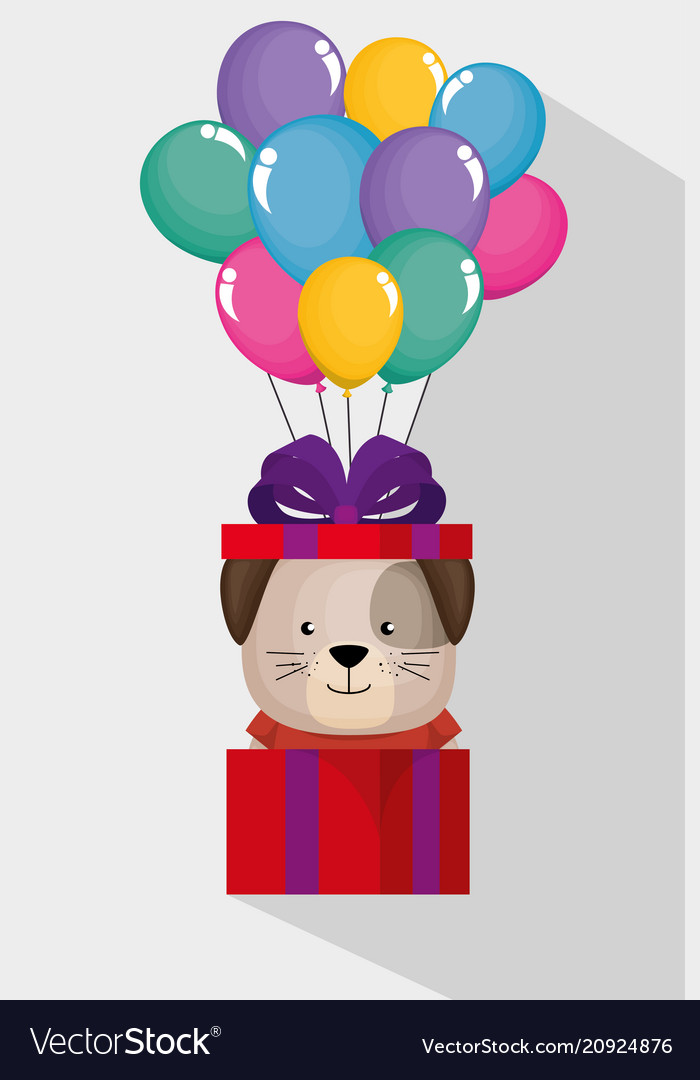 Happy Birthday Card With Cute Dog Royalty Free Vector Image