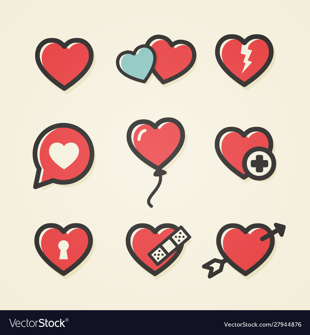 Heart icon set for valentines day and wedding