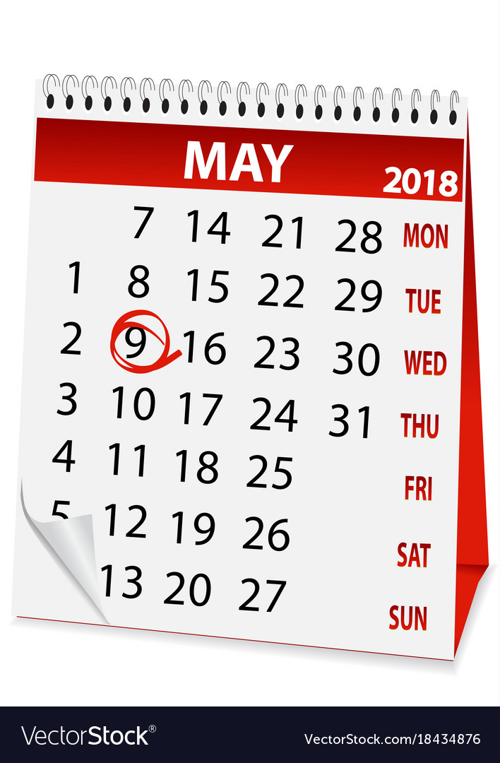 icon calendar for may 9 2018 vector image