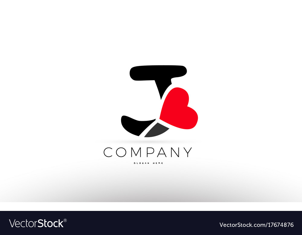 J alphabet letter logo icon with love heart Vector Image