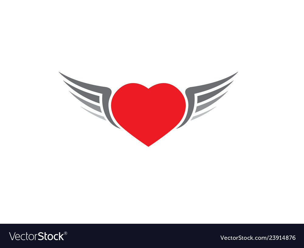 Red heart with open wings icon on white