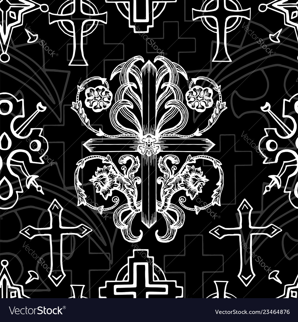 Seamless pattern with white baroque crosses