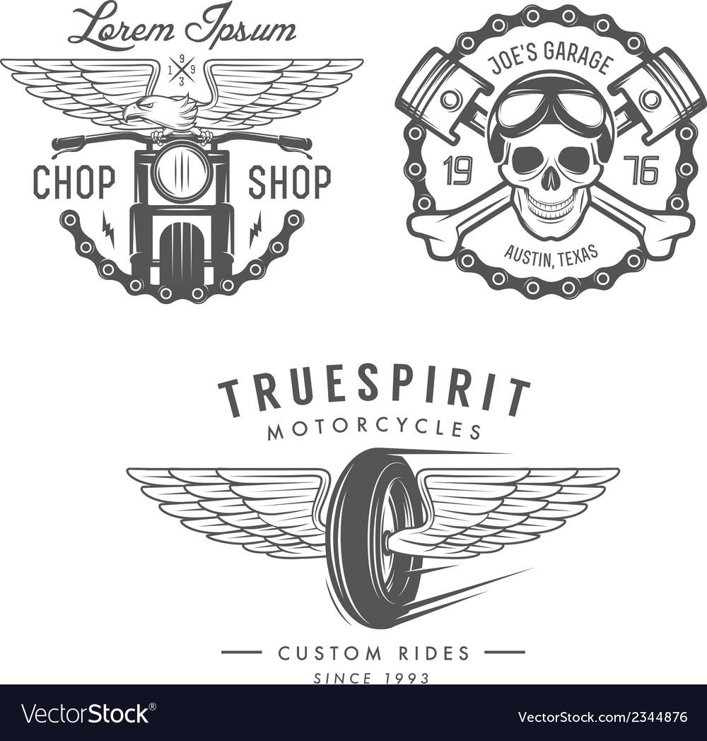 Set vintage motorcycle design elements