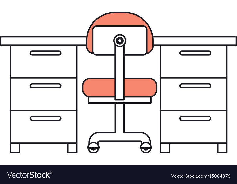 Silhouette color sections of work place office vector image