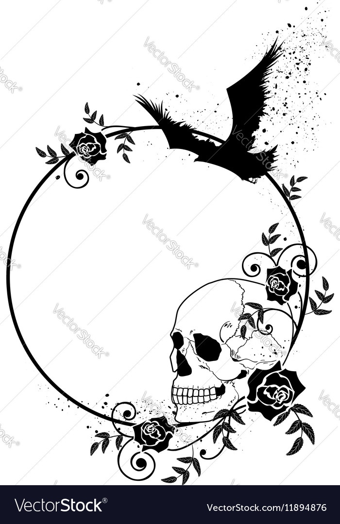 Skull raven and roses frame Royalty Free Vector Image