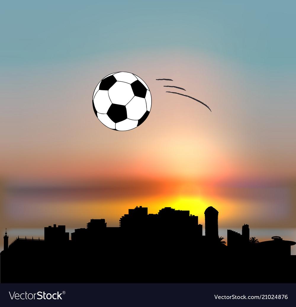 Sochi skyline with football ball