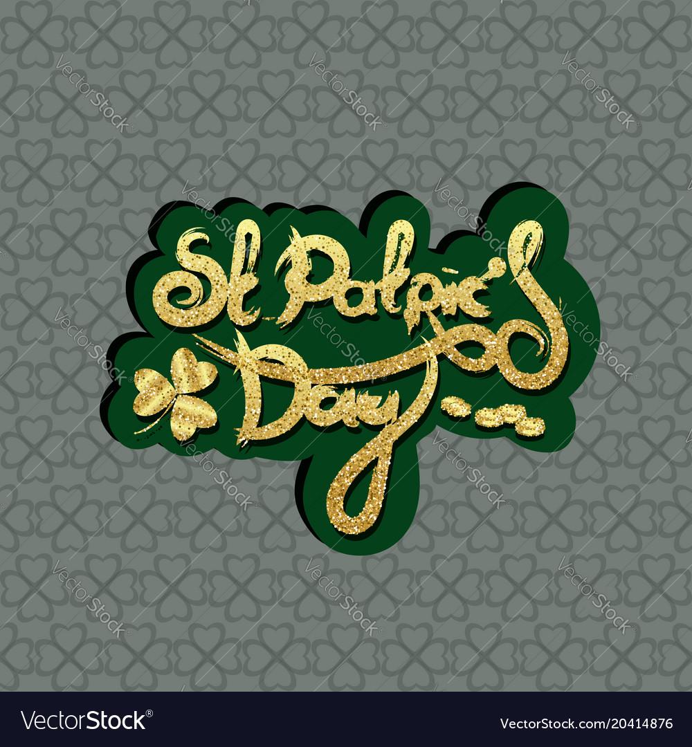 St patricks day lettering holiday sticker