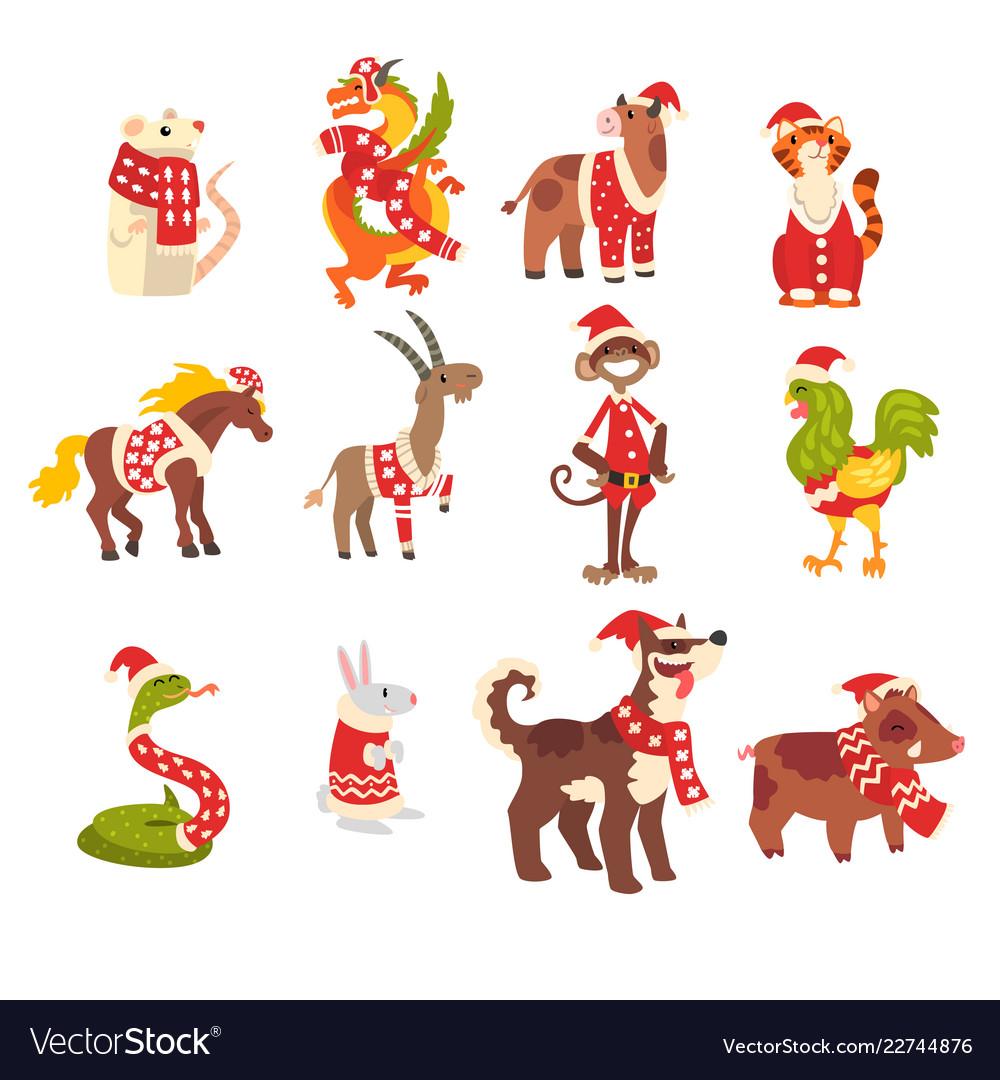 Symbols of new year set cute animals of chinese