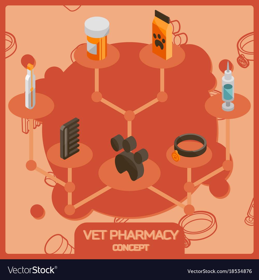 Vet pharmacy color isometric concept icons