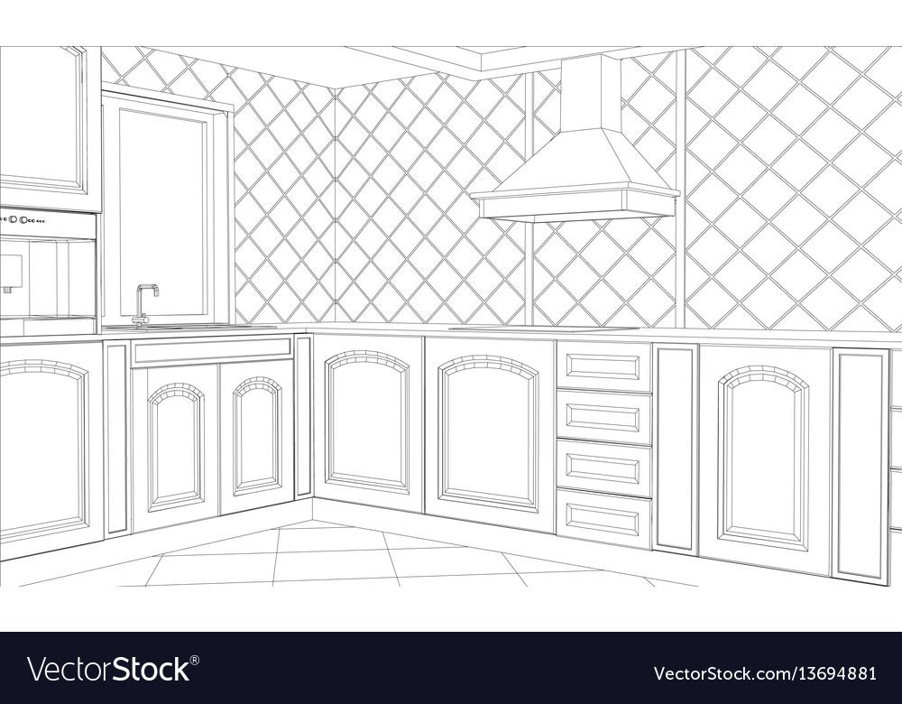Abstract sketch design interior kitchen