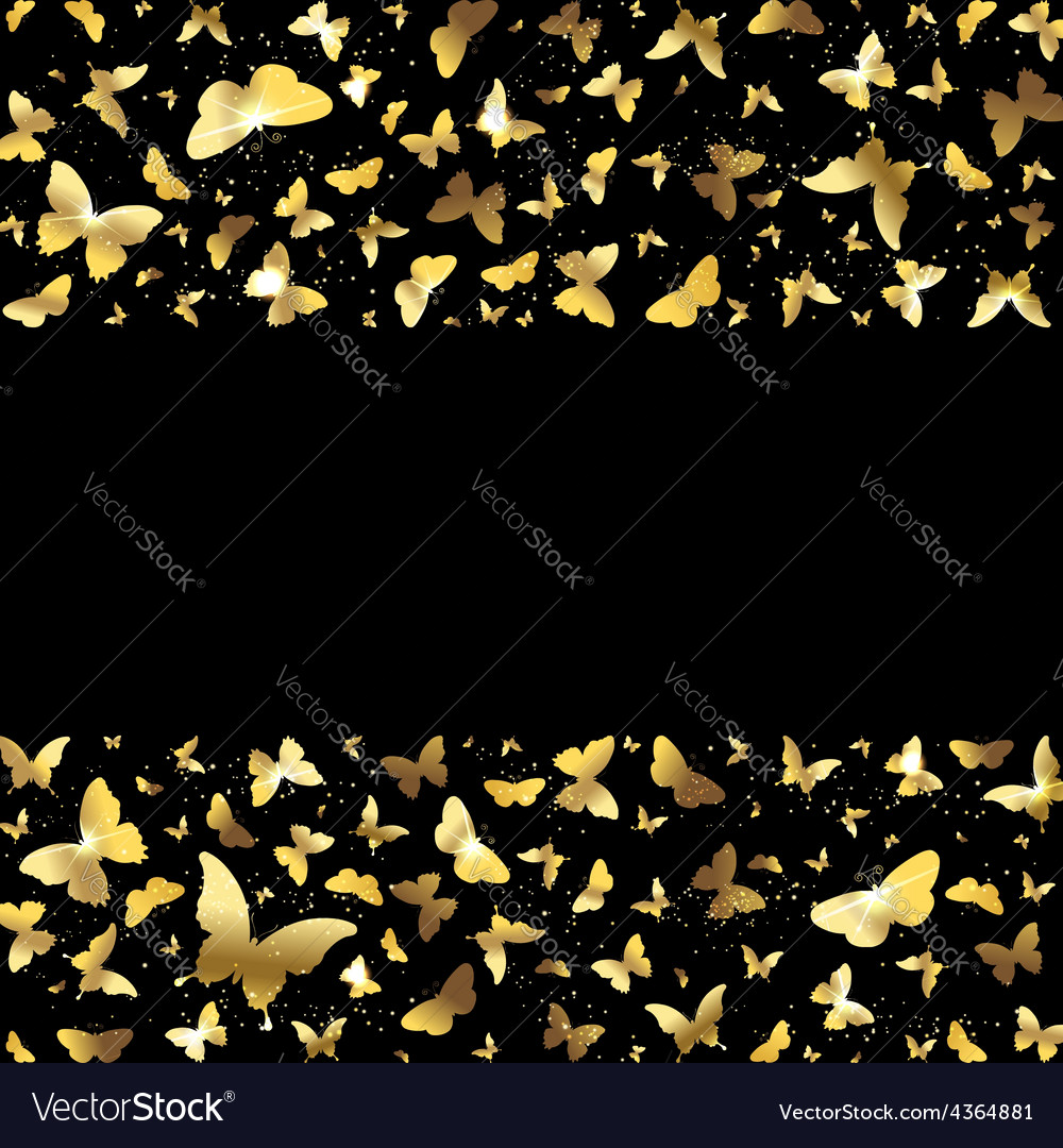 Background with golden butterflies