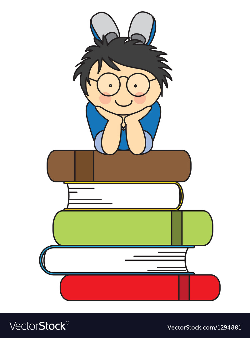Boy with many books vector image