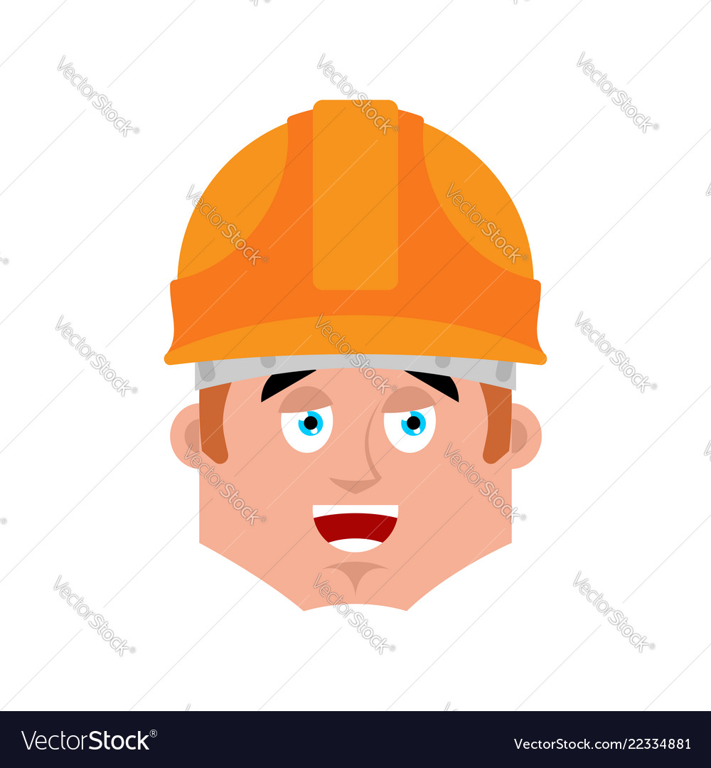 Builder happy emotion avatar worker in protective