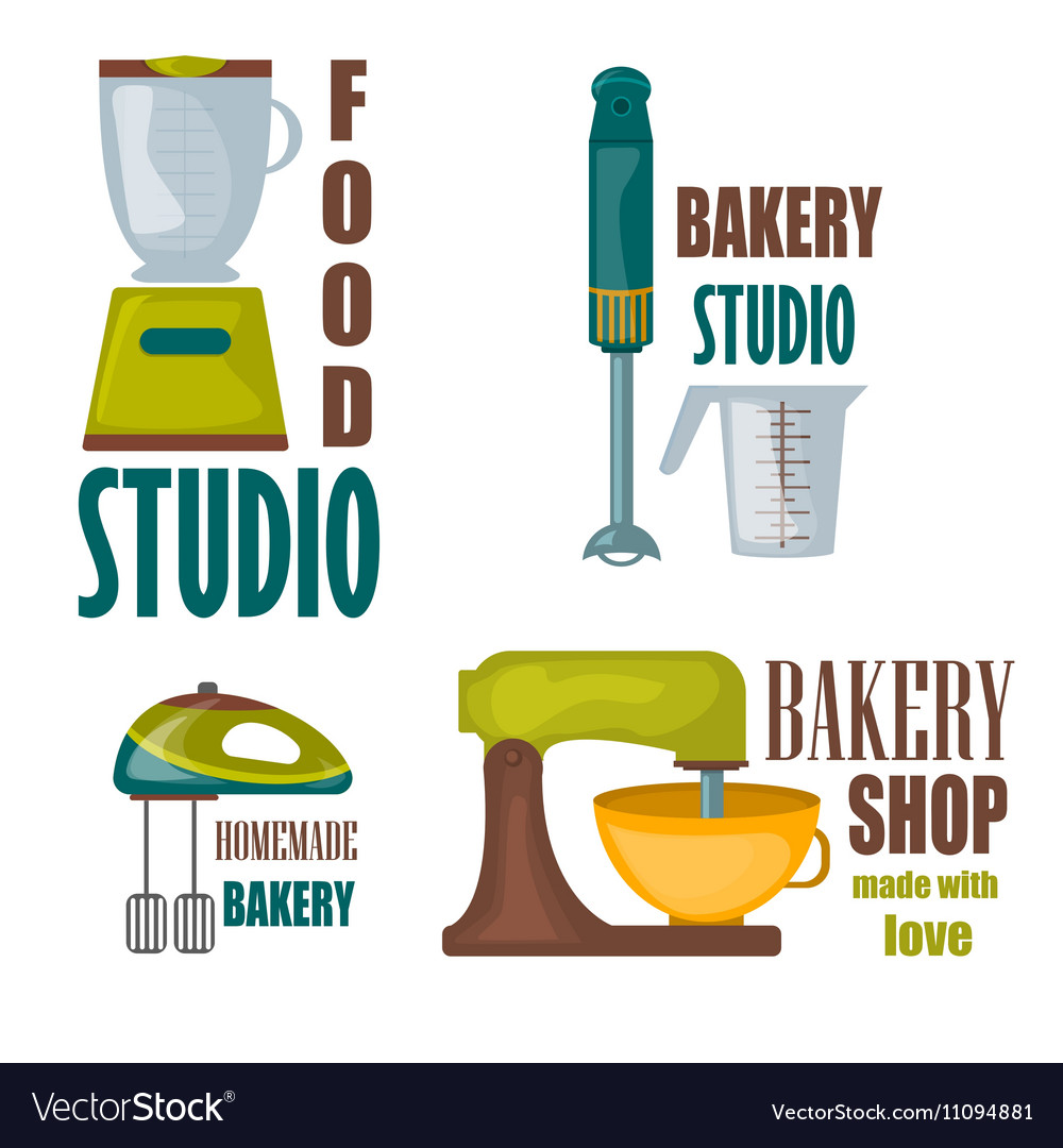 Collection of vintage retro bakery badges and