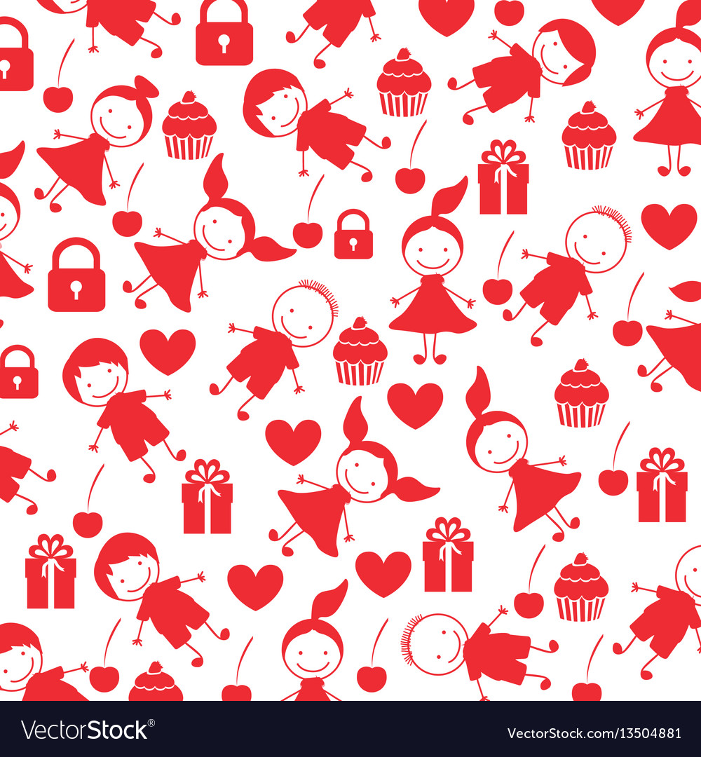 Colorful pattern children with celebration vector image