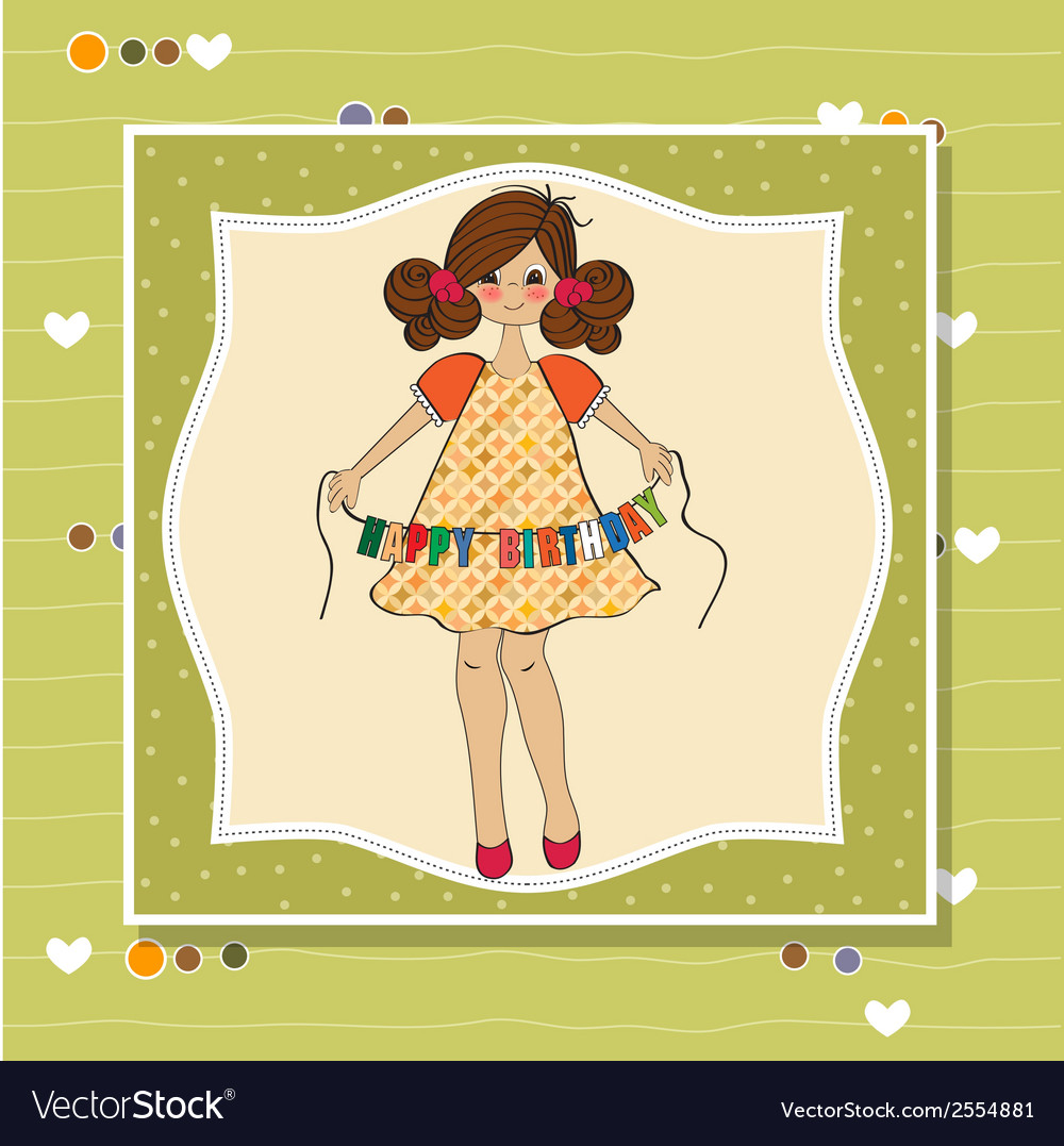 Cute Little Girl Wishing You Happy Birthday Vector Image
