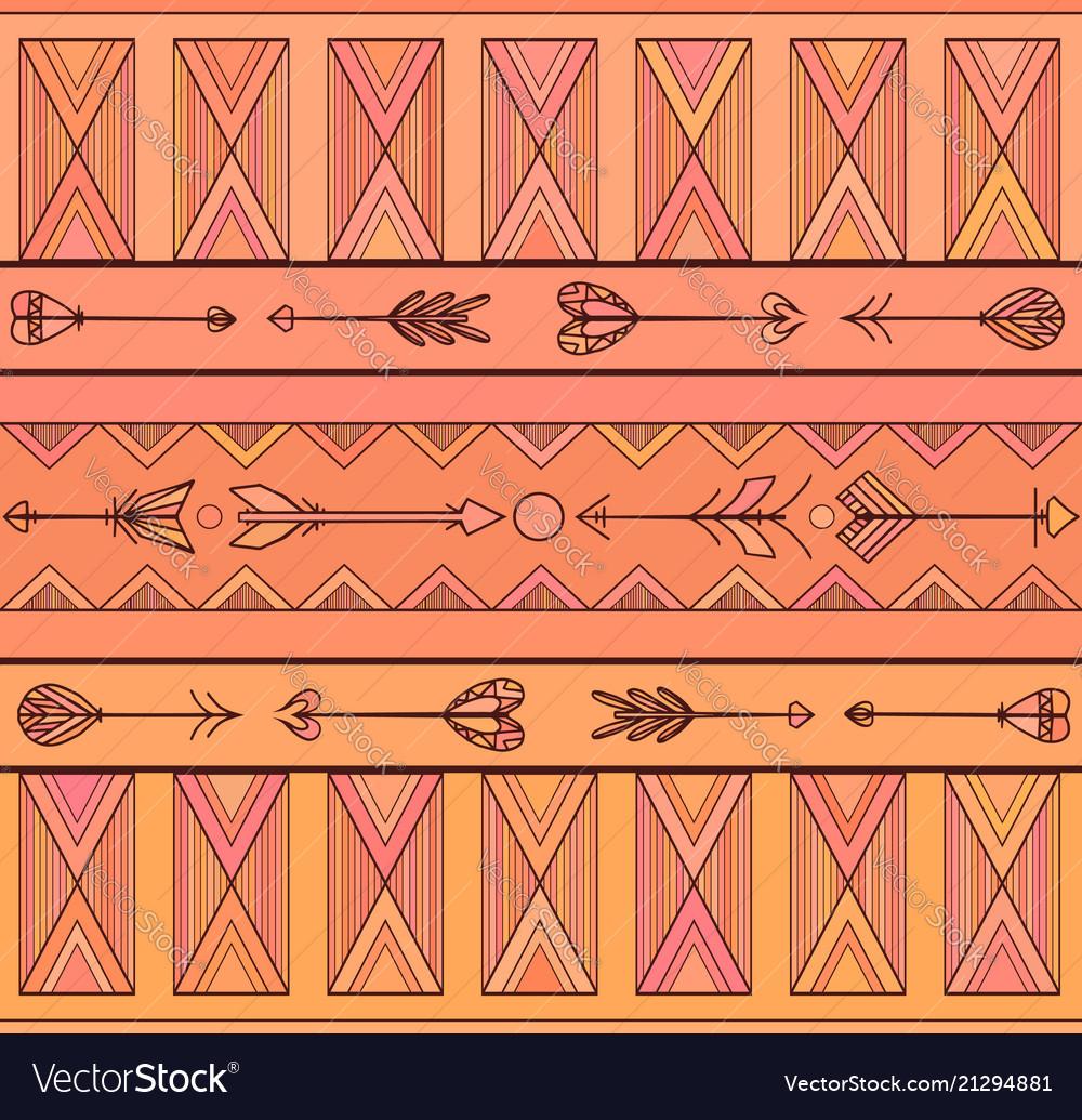 Geometric seamless boho pattern with arrows